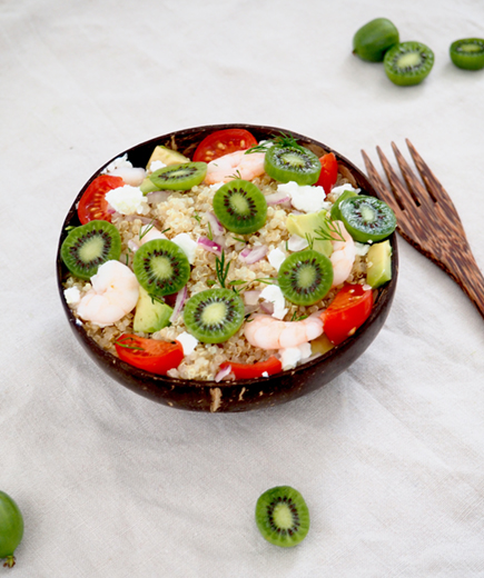 Quinoa Salad with Nergi kiwi berries and goat cheese